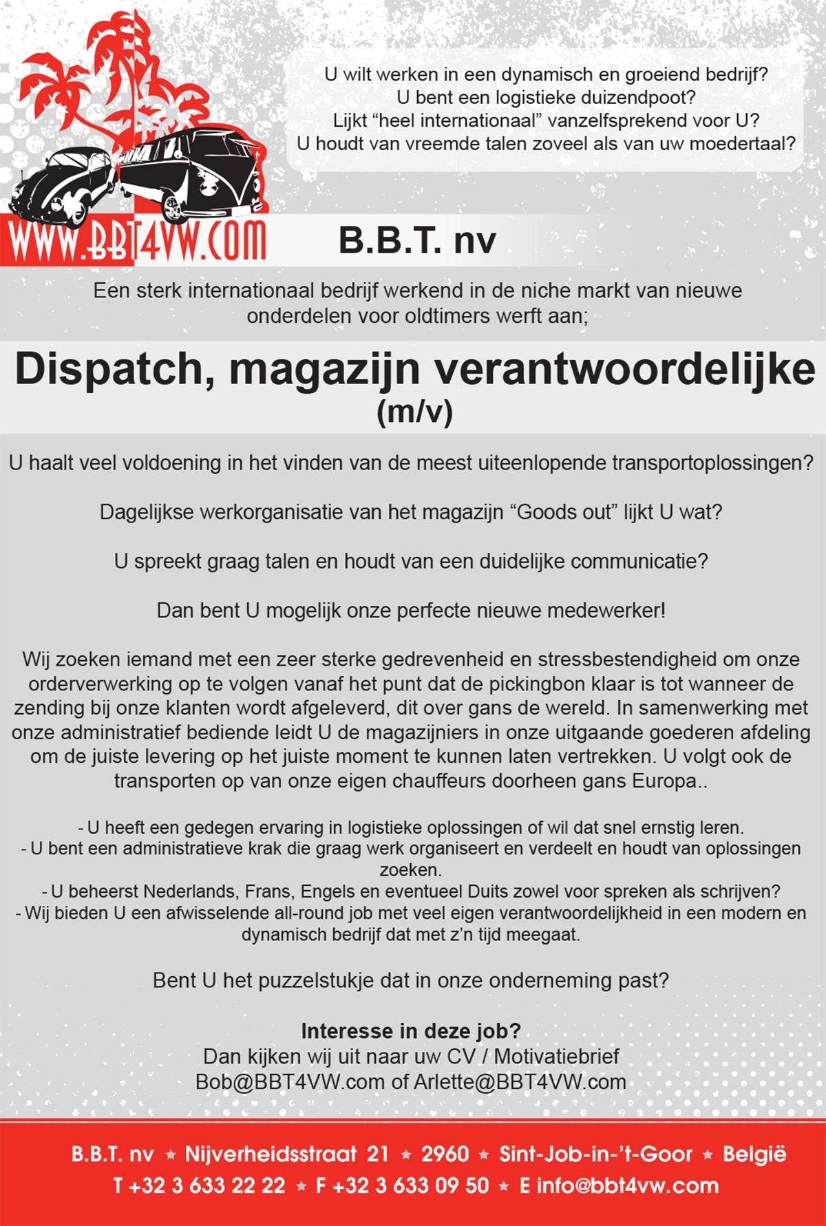 Dispatch-Magazijn-verantwoordelijke